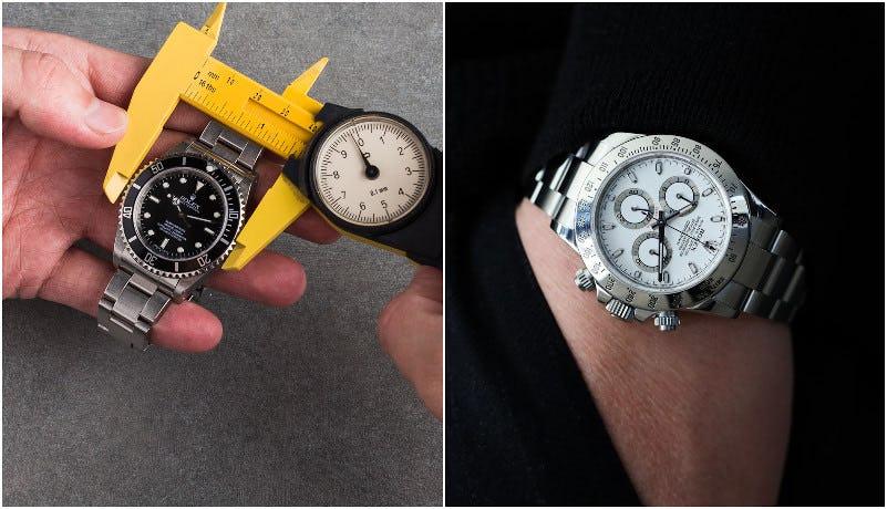 Daytona on the wrist next to 40mm submariner
