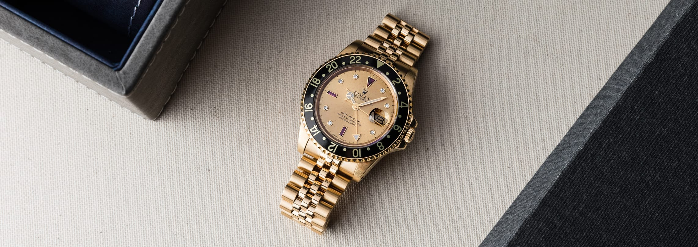 In Focus: Rolex GMT-Master 16758 Yellow Gold Champagne Serti Dial