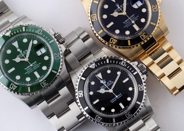 Rolex Submeriner Hulk No Date and Yellow Gold Watches