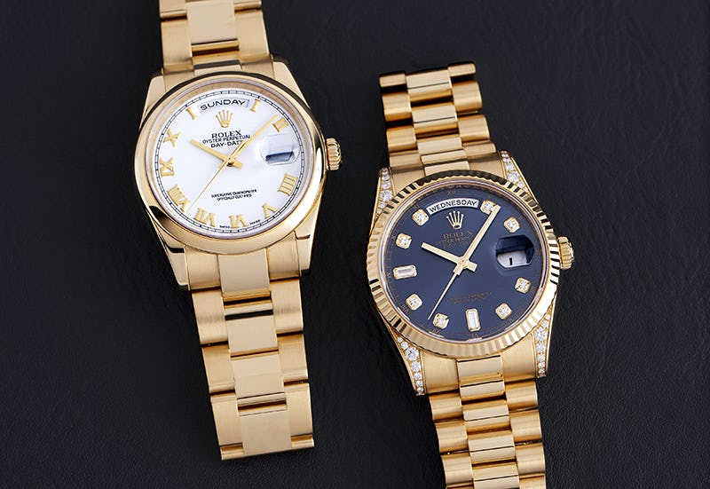 Two Yellow Gold Rolex Day-Date Models